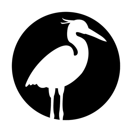 Heron vector illustration black silhouette Çizim