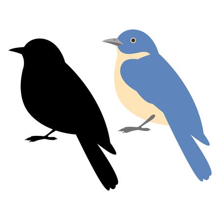 Bird flycatcher vector illustration style flat black silhouette