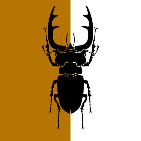 Stag beetle vector illustration black silhouette Vettoriali