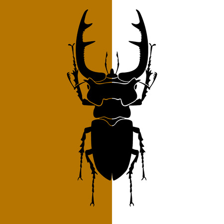 Stag beetle vector illustration black silhouette Иллюстрация