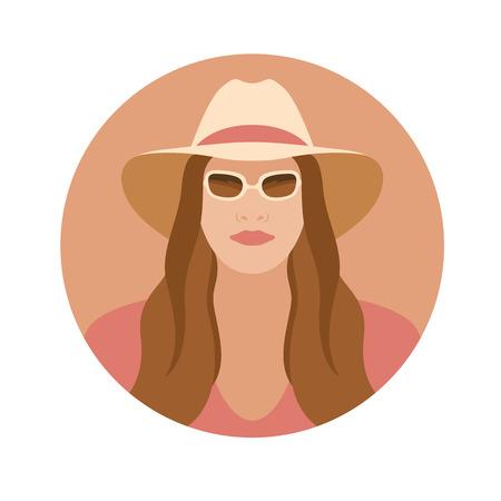 Girl face in hat vector illustration on white background. Illustration