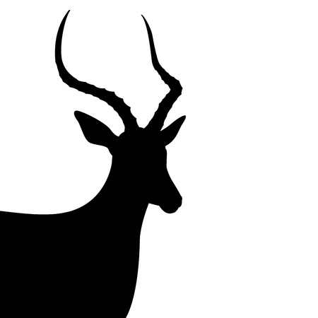 Black silhouette of antelope head vector illustration isolated on white