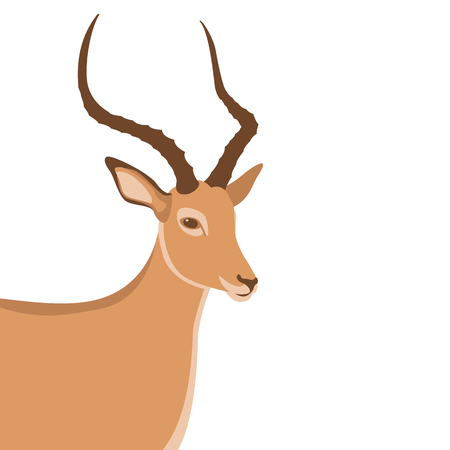 A brown silhouette antelope animals head vector illustration in flat style,isolated on white
