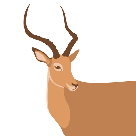 A brown silhouette antelope animal's head vector illustration in flat style isolated on white