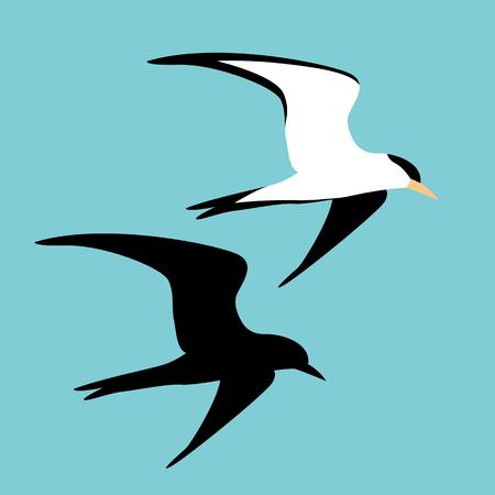 flaches schwarzes Schattenbild der Seemöwenvektorillustrations-Art