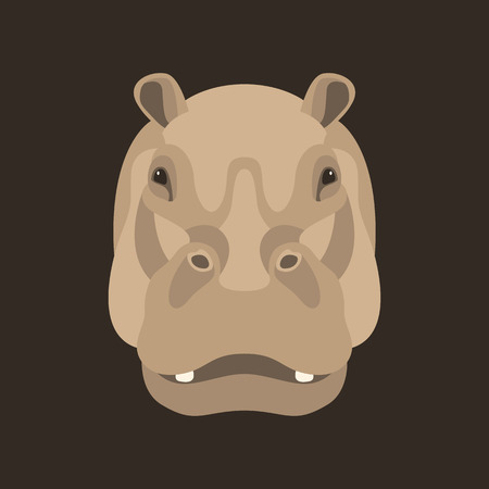 hippo face vector illustration style flat front side