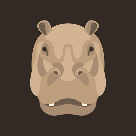 Hippopotame visage vector illustration style plat devant Banque d'images - 85440738