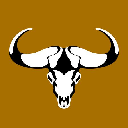 bull head skull vector illustration style flat front side Illustration