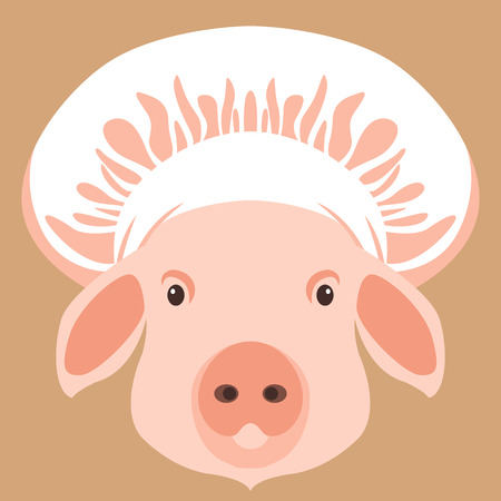 pig face in cooks cap vector illustration flat style front view
