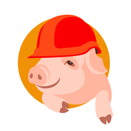 pig face in helmet vector illustration flat style front view