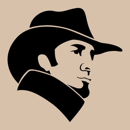 man in hat  face  vector illustration flat style   profile side