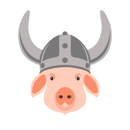 pig in viking helmet vector illustration flat style  front view