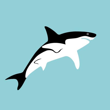 shark vector illustration flat style profile side Illustration