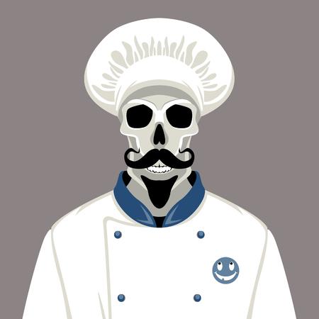 human skull incook's cap  vector illustration flat style   Illustration