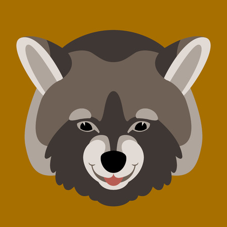 raccoon face vector illustration flat style front view