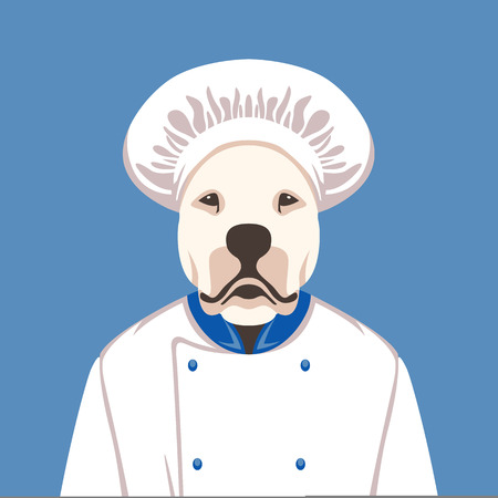 dog face in cooks cap vector illustration flat style front view