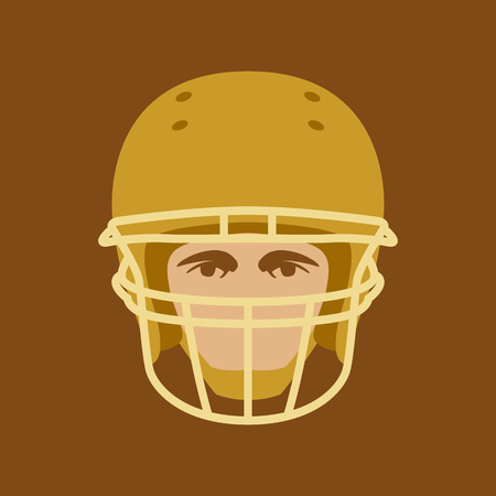Football Player face vector illustration flat style front view
