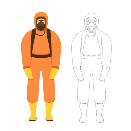 Man in protective overalls vector illustration flat style front view