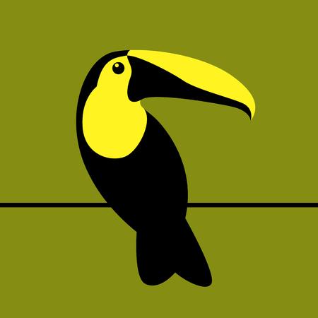 Toucan bird vector illustration flat style profile view Çizim