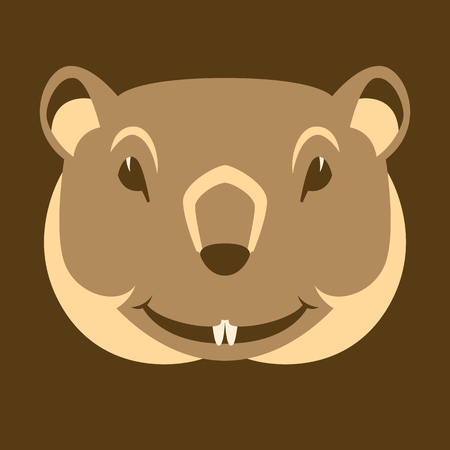 groundhog face  head  vector illustration flat style front view