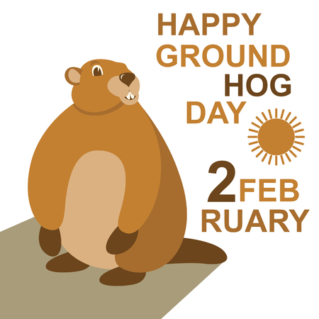 groundhog  vector illustration flat style front view