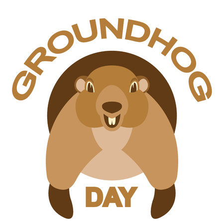 groundhog  day  head vector illustration flat style front view