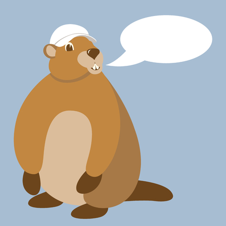 groundhog  in cap  vector illustration flat style front view