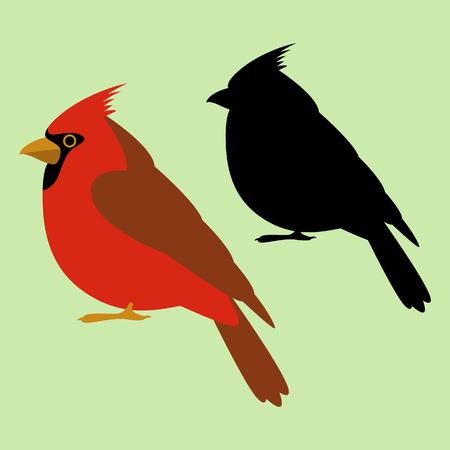 Cardenal pájaro vector ilustración negro silueta plana estilo perfil lateral.