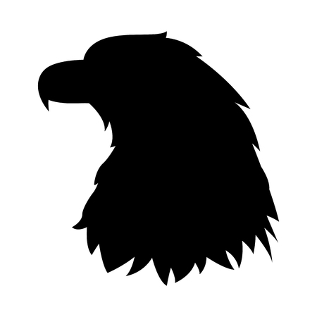 Eagle head vector illustration black silhouette profile side. Ilustrace