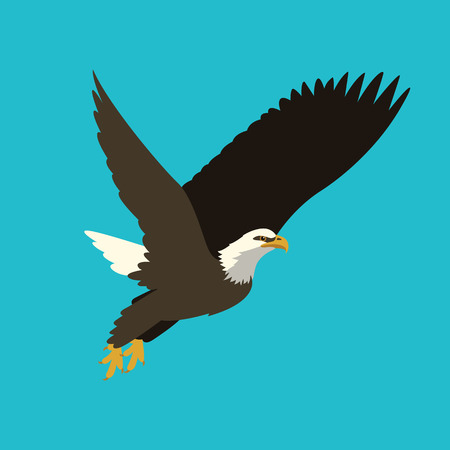 Eagle vector illustration flat style profile side. Vectores