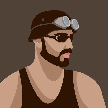hipster in helm vector illustratie vlakke stijl profiel kant Stock Illustratie