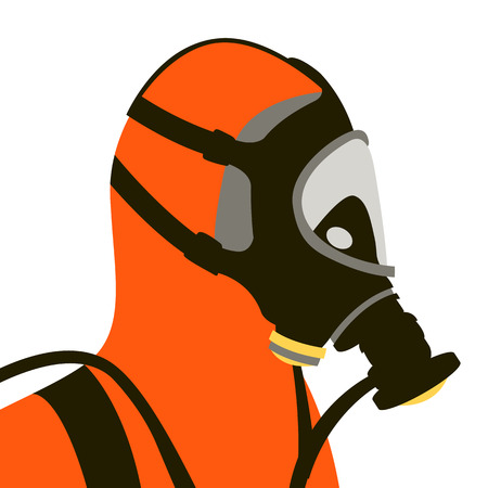 protective suit and mask vector illustration flat style profile side