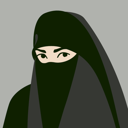 Muslim in hijab face vector illustration flat style front side