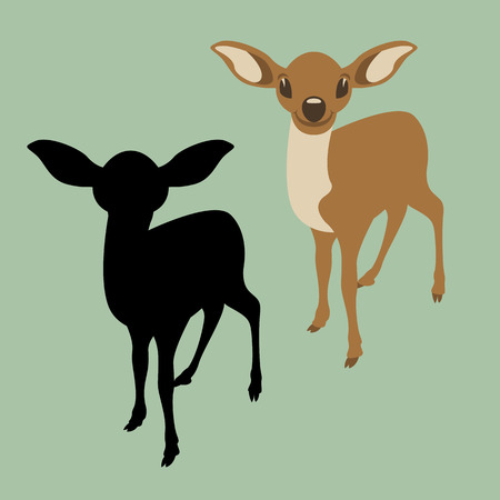 A young deer vector illustration flat style front view silhouette black Illustration
