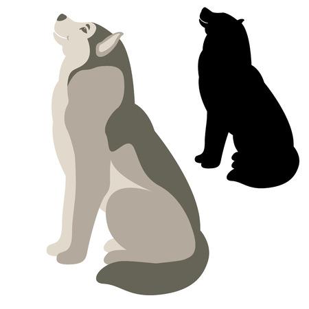 A dog vector illustration flat style silhouette black profile side Illustration