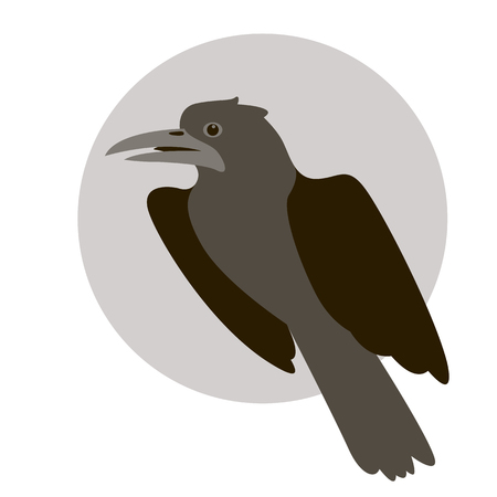 A raven bird vector illustration flat style profile side Illustration