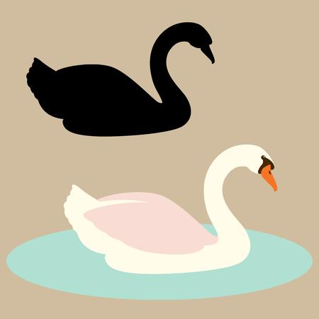 swan  vector illustration flat style  silhouette black profile side Illustration