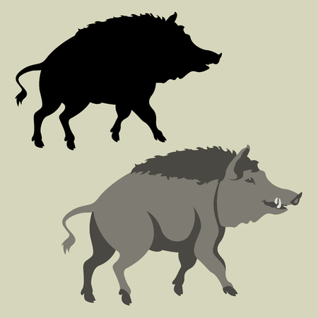 hog  vector illustration flat style  silhouette black profile side