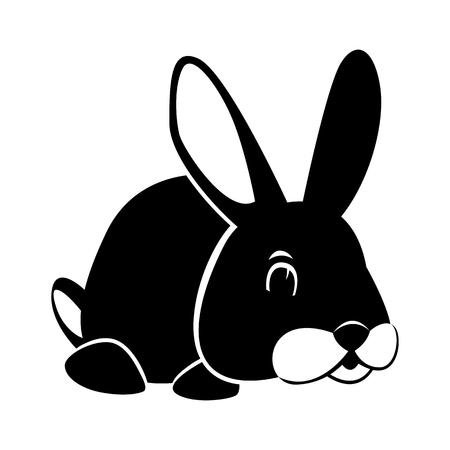 Rabbit vector illustration flat style profile side black