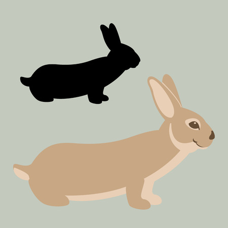 Rabbit vector illustration flat style profile side black silhouette