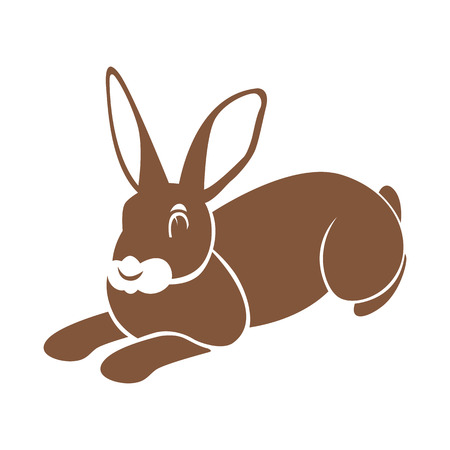 Hare rabbit vector illustration flat style profile side