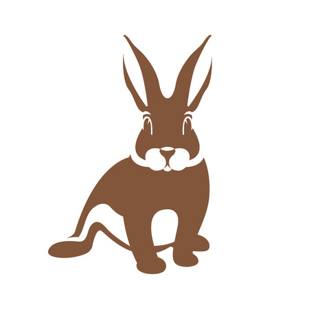 Hare rabbit vector illustration flat style front side silhouette Foto de archivo - 93314659
