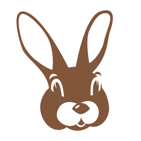 Hare rabbit face vector illustration flat style front side  イラスト・ベクター素材