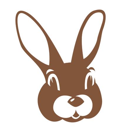 ウサギのウサギの顔ベクトルイラスト フラットスタイルフロントサイド