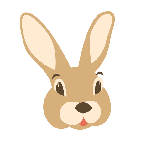 Hare rabbit face vector illustration flat style front side Illustration