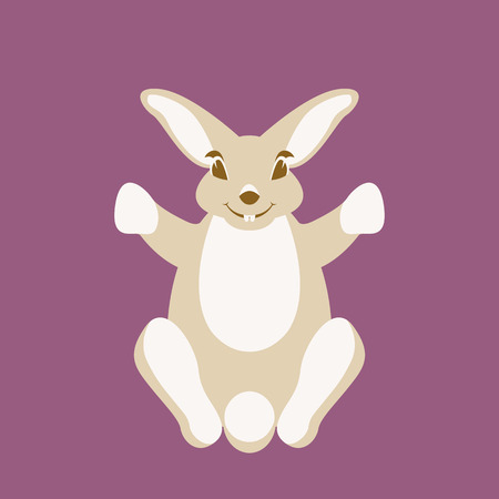 Hare rabbit vector illustration flat style front side silhouette