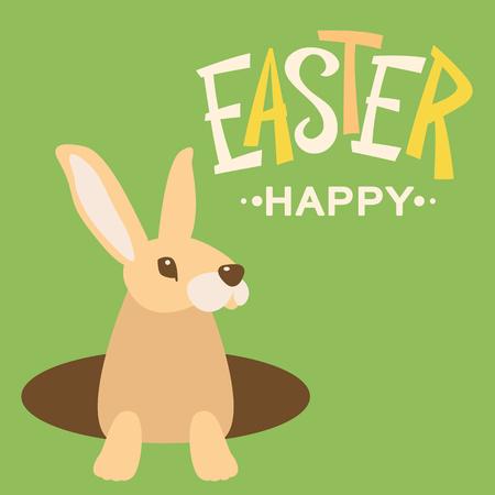 Easter rabbit cartoon design vector illustration flat style Illustration