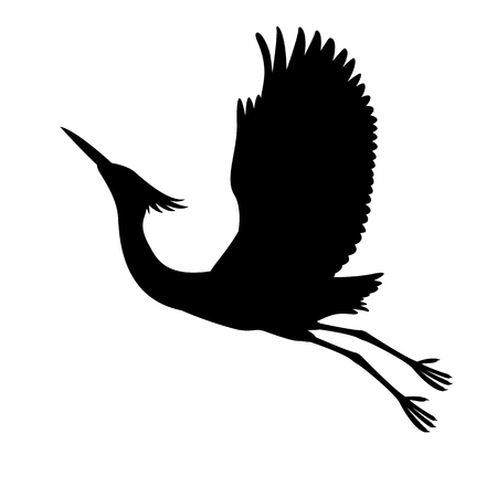 White heron vector illustration black silhouette profile view Vettoriali