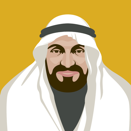 arabian man  face vector illustration flat style front  view