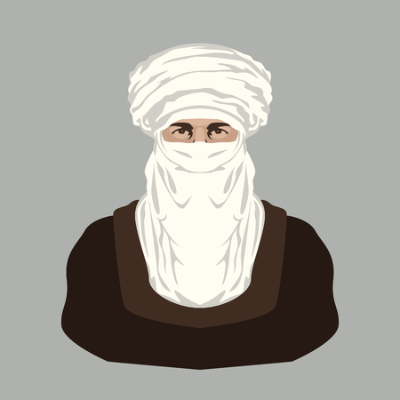 Arab Bedouin  face vector illustration flat style front view